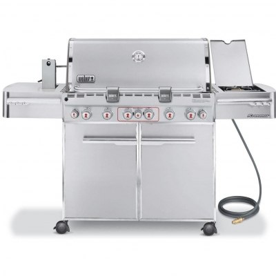 Weber Summit S-670 Propane Gas Grill On Cart With Rotisserie, Sear Burner & Side Burner